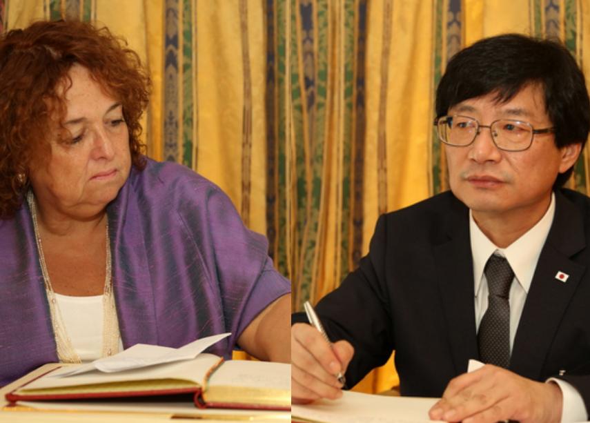 la nouvelle ambassadrice du Canada, Ginette Martin, et son homologue du Japon, Shigeru Ushio