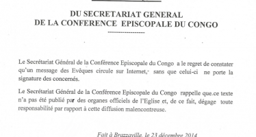 COMMUNIQUE DU SECRETARIAT GENERAL DE LA CONFERENCE EPISCOPALE DU CONGO