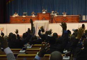 Vue de l'Assemblée nationale congolaise lors d'une assemblée plénière, le 06/01/2015 au palais du peuple à Kinshasa, siège du parlement. Radio Okapi