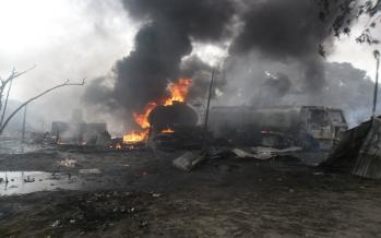 Brazzaville : Un dépôt d'essence en feu à Ouénzé