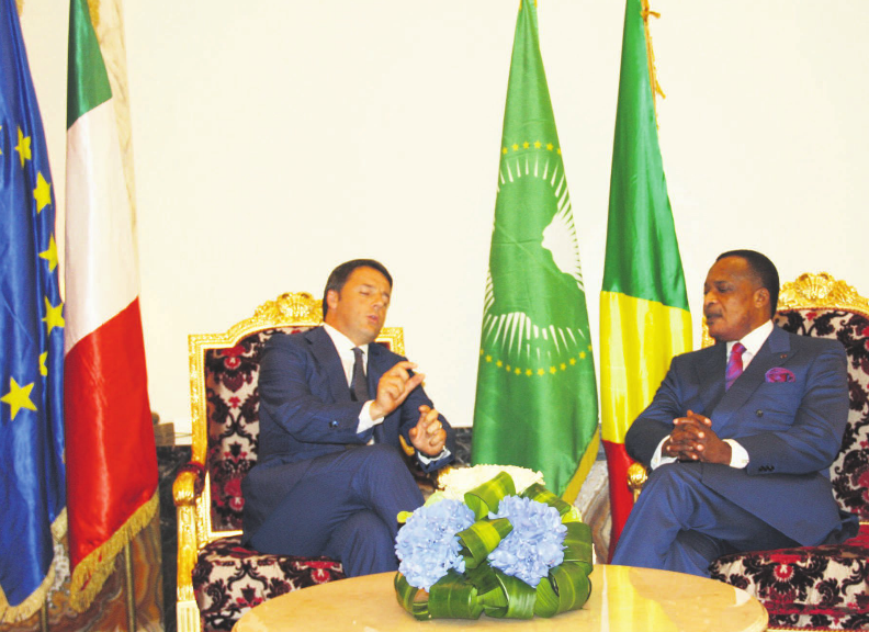 Denis Sassou  et Matteo Renzi