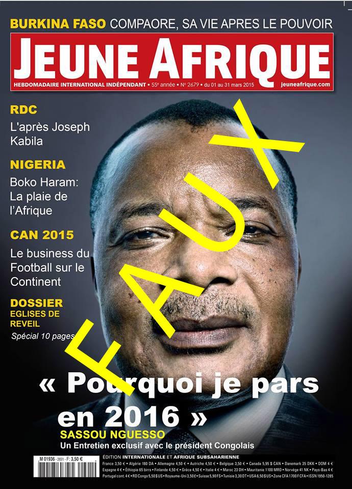 """Une fausse une de """"Jeune Afrique"""" circule depuis vendredi sur les réseaux sociaux."""