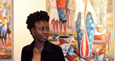 L'artiste peintre congolaise Rhode Makoumbou présente l'art congolais à Bruxelles