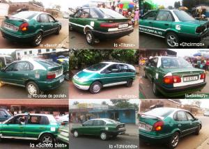 « Chairman »,  »Cuisse de poulet »,  »Benoît XVI »,  »Titanic », « Sarkozy »,… les taxis au Congo sont affublés de surnoms plus originaux les uns les autres en fonction de leur modèle et de l'actualité.