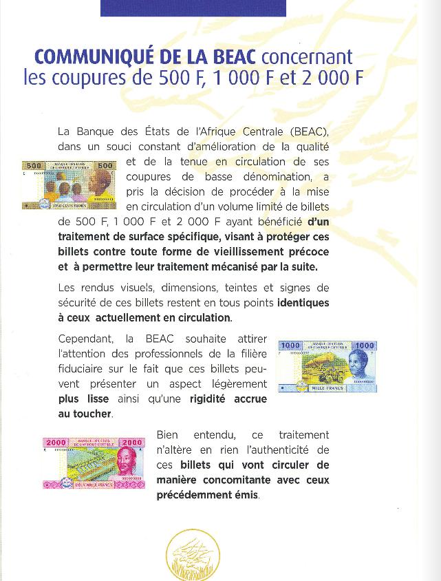 De nouvelles coupures de francs Cfa bientôt en circulation au Congo