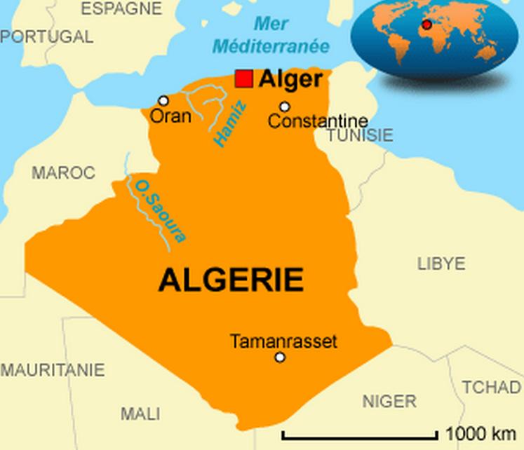 la carte d'Algérie