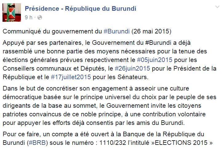 Communiqué du gouvernement du Burundi (26 mai 2015)