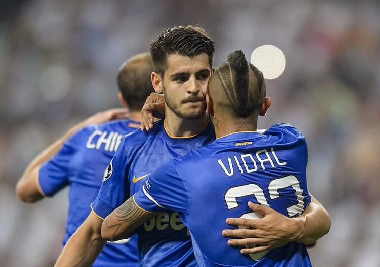 La joie des joueurs de la Juventus après le but d'Alvaro Morata contre le Real en demi-finale retour de la Ligue des champions à Madrid.