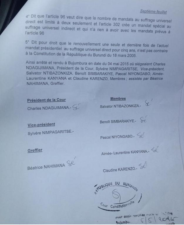 L'arrêt de la cour constitutionnelle qui valide la candidature de Pierre Nkurunziza