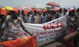 Vue des travailleurs membres de l'UNTC en marge de la célébration de la journée du 1er mai 2012 à Kinshasa