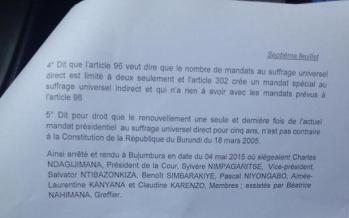 Burundi – Voici : L'arrêt de la cour constitutionnelle qui valide la candidature de Pierre Nkurunziza