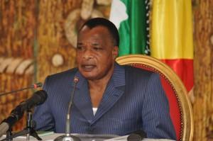 Le Président Denis Sassou N'Guesso, 7 juin 2015 à Kinkala.