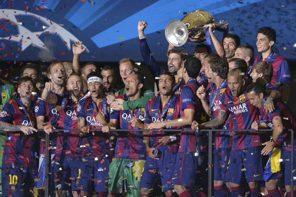Le joueurs du FC Barcelone, le 6 juin 2015 à Berlin