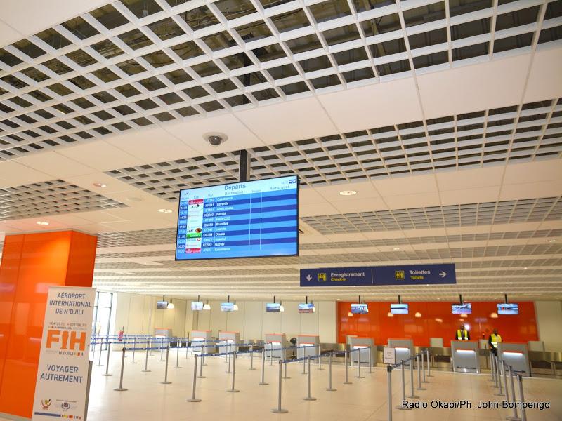 la nouvelle aérogare de l'aéroport international de N'djili à Kinshasa,