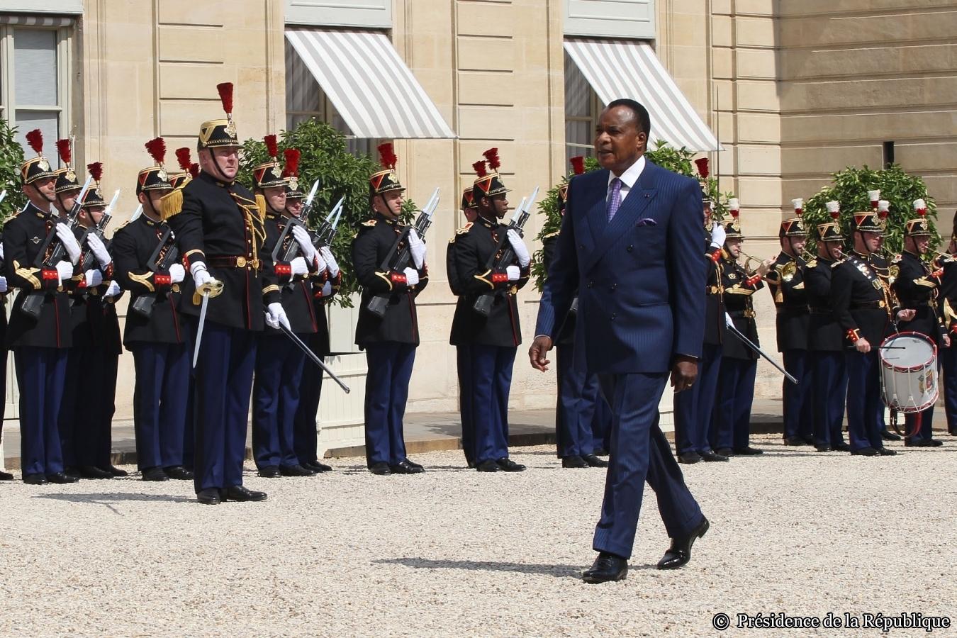 Le président congolais, Denis Sassou Nguesso, à l'Elysée, le 07 Juillet 2015.
