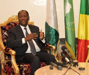 Alassane Ouattara, ce lundi 20 juillet 2015, par l'aéroport international Maya Maya.