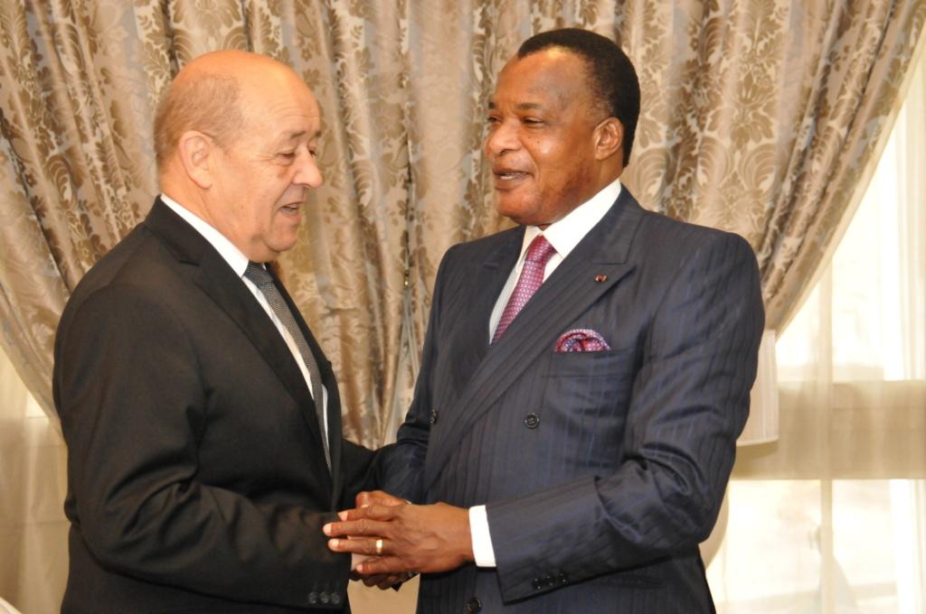 Sassou et Jean-Yves Le Drian