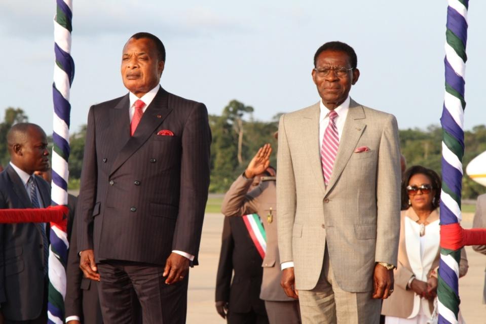 Les présidents congolais, Denis Sassou N'Guesso et équato-guinéen, Théodoro Obiang Nguema Mbasogo