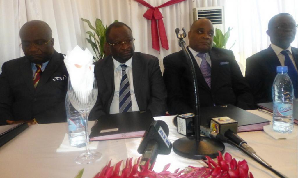 Les membres fondateurs de cette plateforme: René Serges Blanchard Oba, Guy Brice Parfait Kolelas, André Okombi Salissa et Mavoungou Mabio, Le 1er août 2015 à Brazzaville|DR