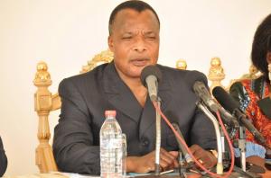 Le président congolais Denis Sassou Nguesso, le 12 octobre 2014 à Pointe-Noire au Congo