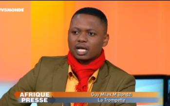 Guy Milex M'Bondzi sur TV5 en compagnie de Pascal Ayrault de L'Opinion, Assane Diop de RFI et Denise Epope.
