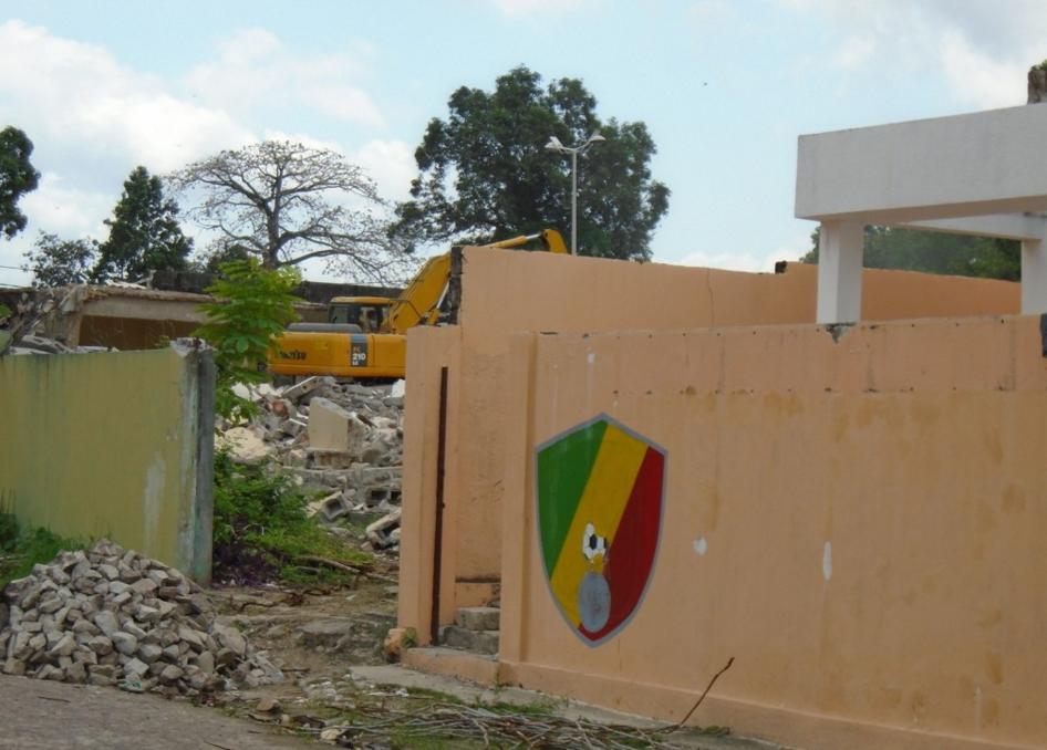 L'ancien siège de la Fécofoot démoli (Photo Adiac)