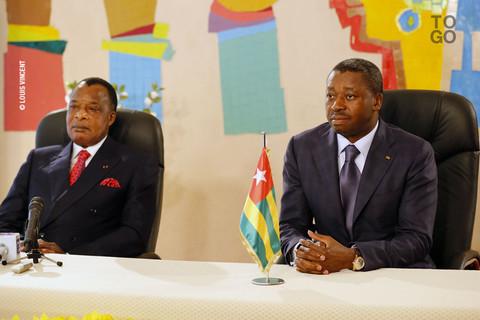 Denis Sassou Nguesso et Faure Gnassingbé mardi à Lomé