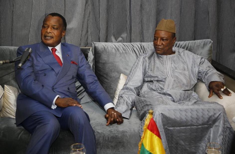 Les Présidents Denis Sassou N'Guesso et Alpha Condé