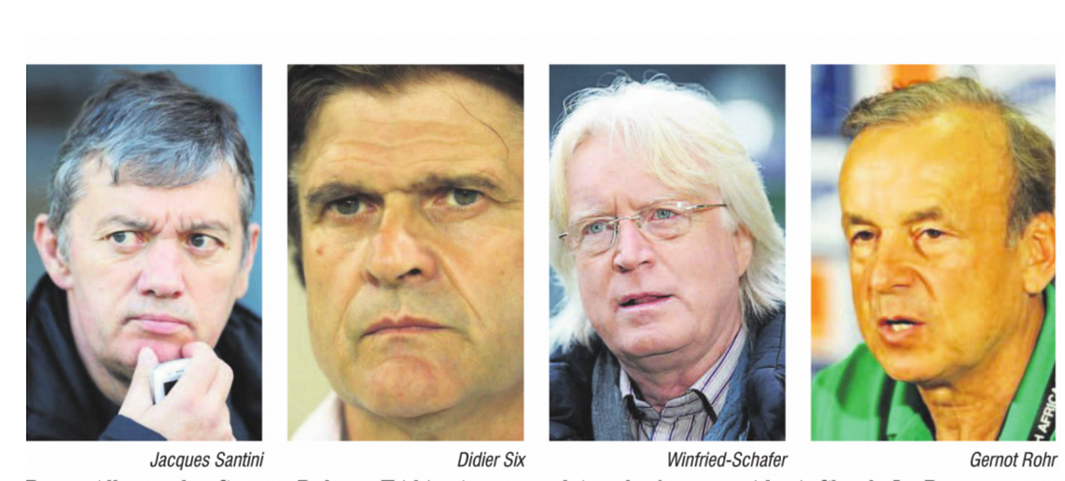 le Franco-Allemand Gernot Rohr, les Français Jacques Santini et Didier Six et l'Allemand Winfried Schäfer