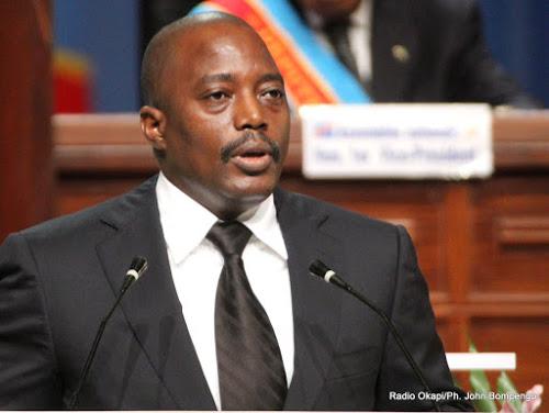 Le président Joseph Kabila Kabange prononçant son discours sur l'état de la nation le 15/12/2012 à Kinshasa, devant les deux chambres du Parlement réunies en congrès.