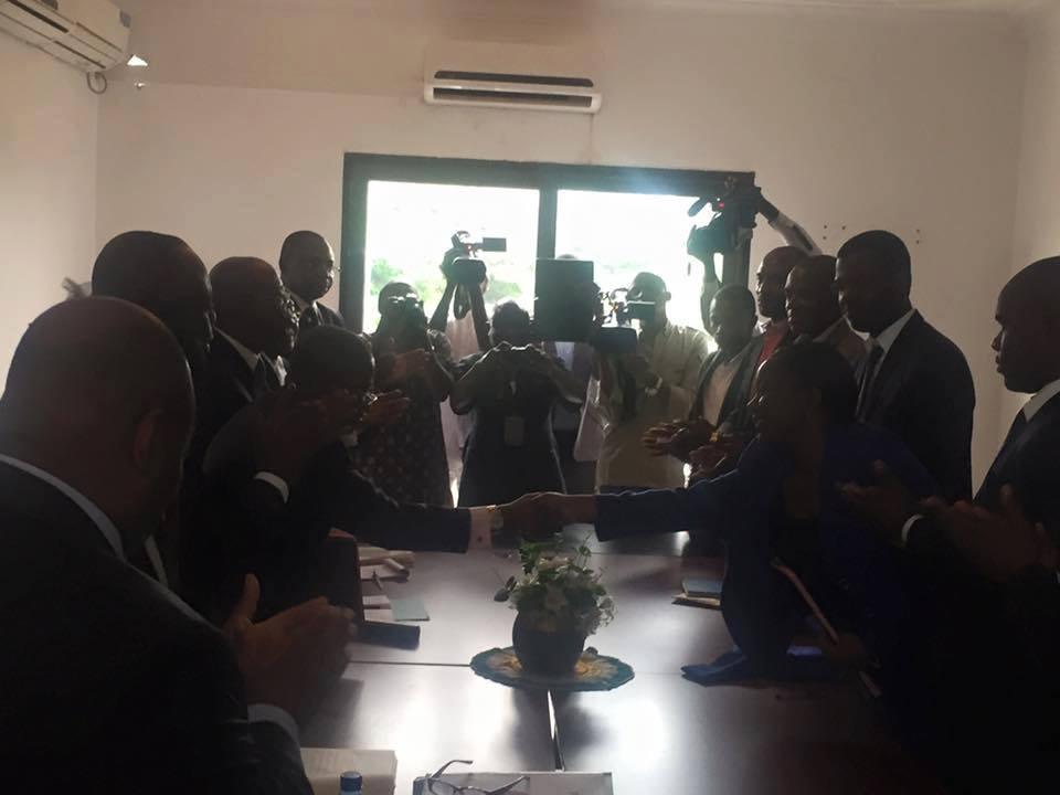 Le Parti Congolais du Travail (PCT) de Pierre Ngolo et le Front Patriotique (FP) de Destinée Doukaga ont signé aujourd'hui un protocole d'accord de partenariat