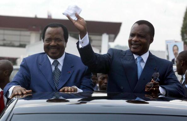 Les Président Paul Biya et Sassou N'Guesso|DESIREY MINKOH/AFP/Getty Images)