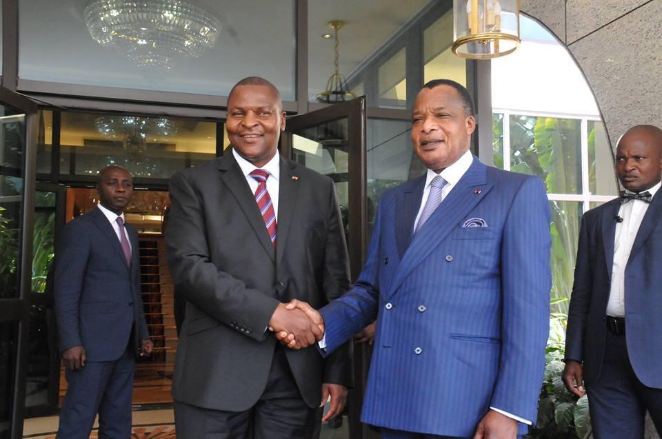 Les présidents Denis Sassou N'Guesso et  Faustin Archange Touadéra