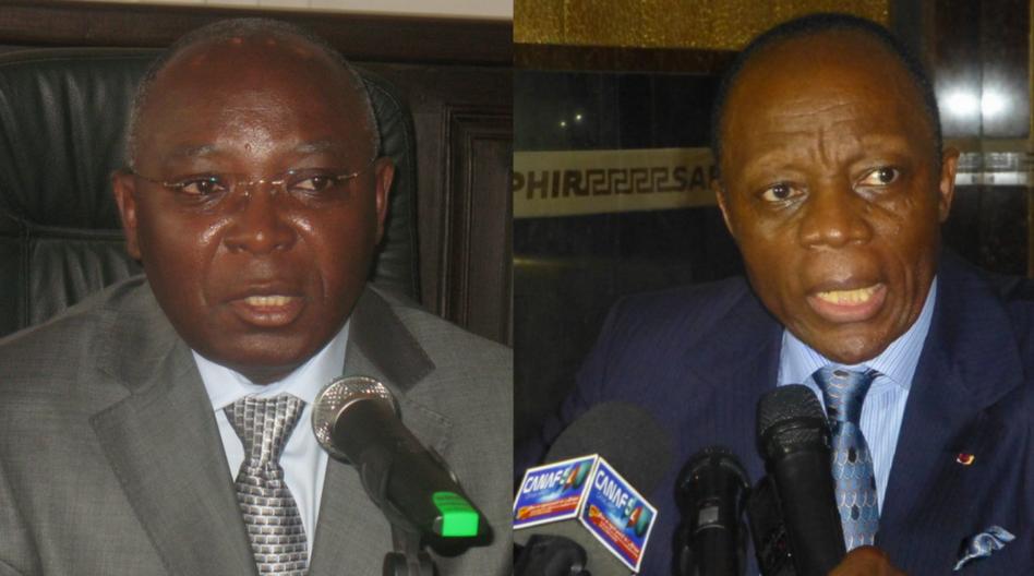 Le ministre congolais de l'Intérieur, Raymond-Zéphirin Mboulou et le général Jean-Marie Michel Mokoko