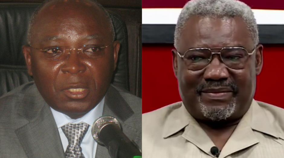 Le ministre de l'Intérieur Raymond Zephirin Mboulou et  le président de la plateforme d'opposition IDC-Frocad, Charles Zacharie Bowao