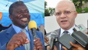 L'ex-chef rebelle congolais, Frédéric Bintsamou, alias Pasteur Ntumi et Thierry Moungalla, le ministre congolais de la Communication et porte-parole du government