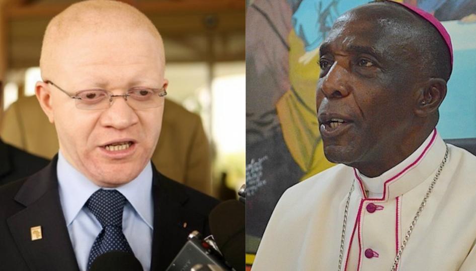 Thierry Moungalla et Mgr Louis Portella Mbuyu