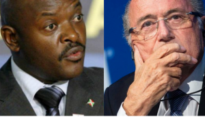 Le président du Burundi, Pierre Nkurunziza et Sepp Blatter, l'ancien président de la Fifa