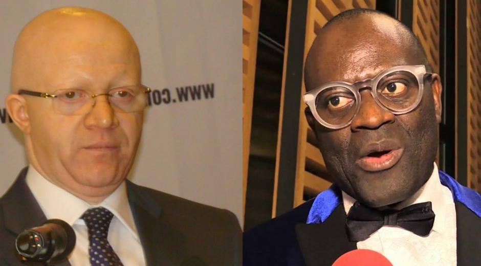 Thierry Moungalla le ministre congolais de la Communication(G) et Alain Mabanckou l'écrivain congolais