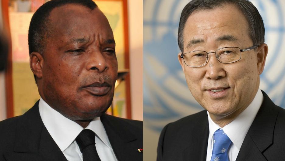 Le président congolais Denis Sassou Nguesso et le secrétaire général, Ban Ki-moon