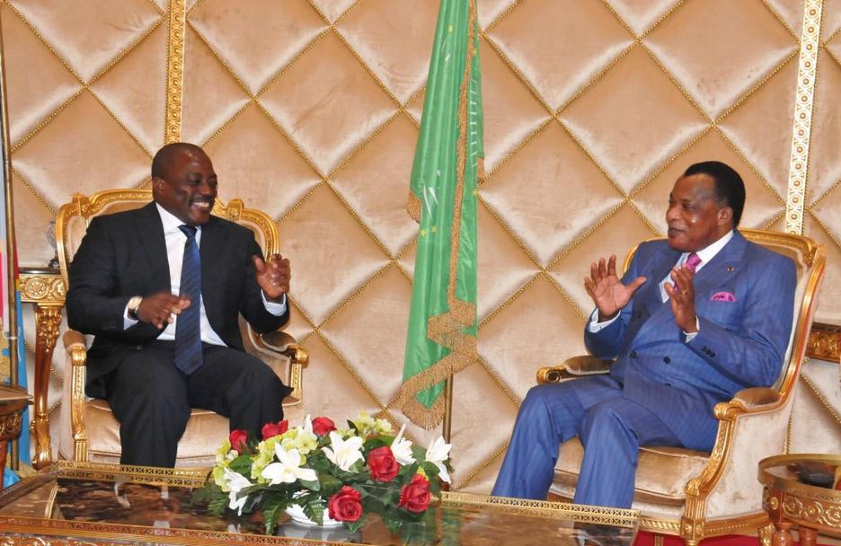 Joseph Kabila Kabangé  et Denis Sassou N'Guesso à Oyo, le 27 juin 2016