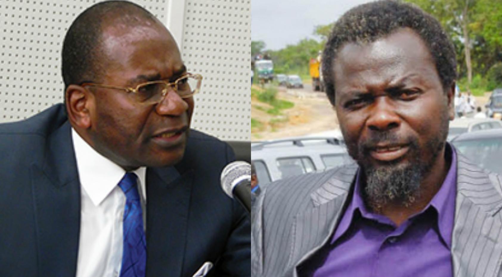Le ministre de la Justice Pierre Mabiala et le pasteur Ntumi