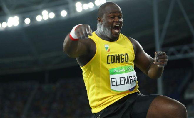 Le lanceur de poids du Congo-Brazzaville Franck Elemba, durant la finale des JO 2016