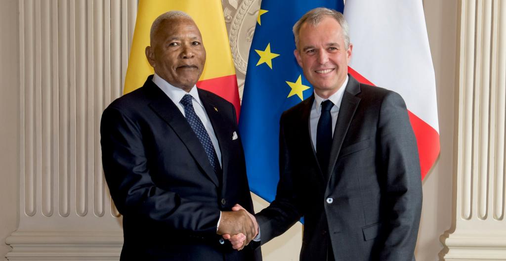 Isidore Mvouba, président de l'Assemblée nationale du Congo reçu par son homologue français, François de Rugy, au Palais Bourbon