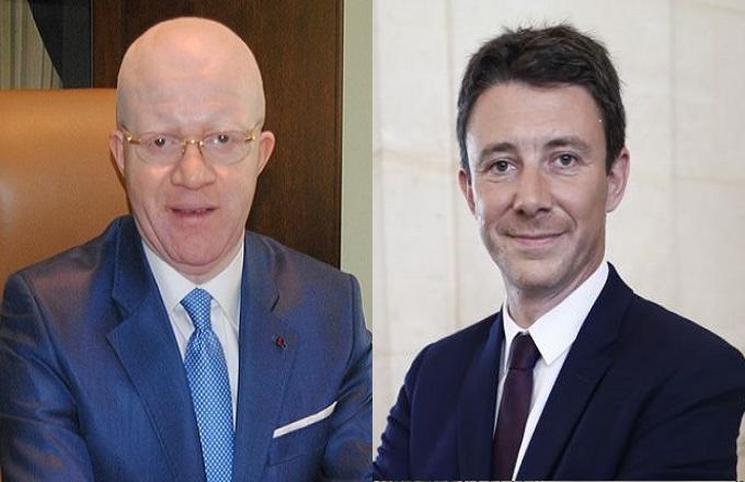 Le ministre congolais de la communication et des médias, Thierry Lézin Moungalla et Benjamin Griveaux, porte-parole du gouvernement français