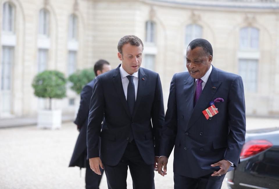 Emmanuel Macron et Denis Sassou Nguesso,