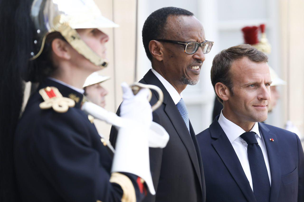 Le président français, Emmanuel Macron, qui recevait son homologue rwandais, Paul Kagame.