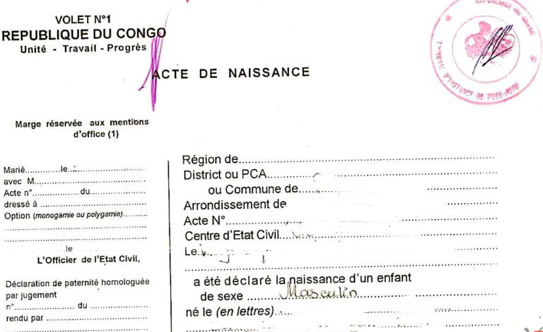 Acte de naissance Congolais (Congo)
